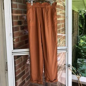 Shein orange cuffed trousers w/ pockets
